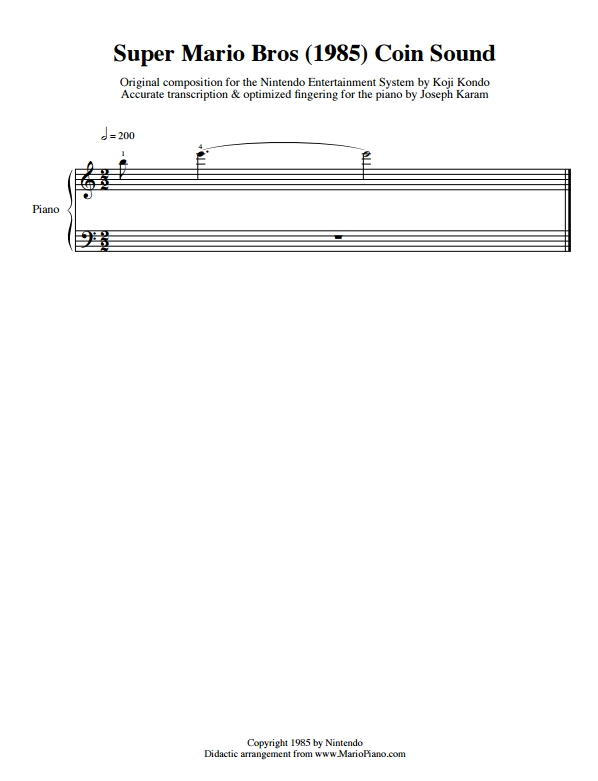 Mario Coin Music Sheet
